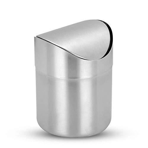 Withou Mini residuos con la tapa del oscilación, de acero inoxidable cepillado minúsculo pequeño Mini Papelera Can, rojo de la aleta de tipo bote de basura, cubo de basura pequeño for el dormitorio de