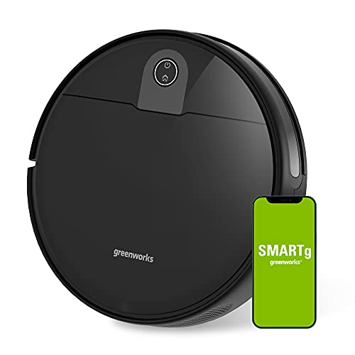 Greenworks GRV-1010 Robot Vacuum Smart Self-Charging Robotic Vacuum Cleaner, Powerful Suction, brushless Motor, Adjustable in Four Levels, Auto Sweeper for Pet Hair, Hard Floor, Carpet