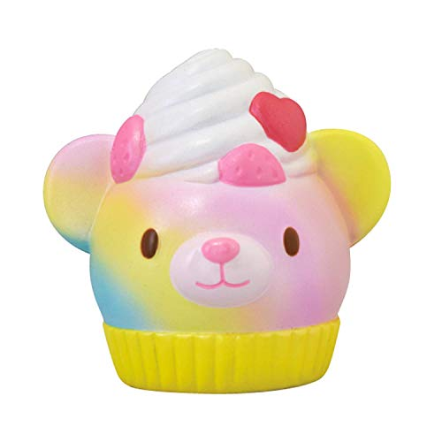 ibloom Magic Bear Bakery Slow Rising Cute Squishy Toy (Shiny Rainbow, Yellow, Strawberry Scented, 3.9 Inch) [Kawaii Squishies for Party Favors, Stress Balls, Birthday Gifts for Kids, Girls, Boys]