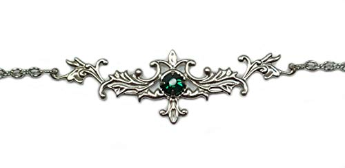 Silver Simple Elegant Flourish Filigree Celtic Goddess Elven Elf Elvish Circlet Headpiece Headdress Headband Crown Tiara Bridal Wedding Bridesmaid Renaissance Princess Medieval Queen Gothic Goth Cosplay Halloween (Emerald Green)