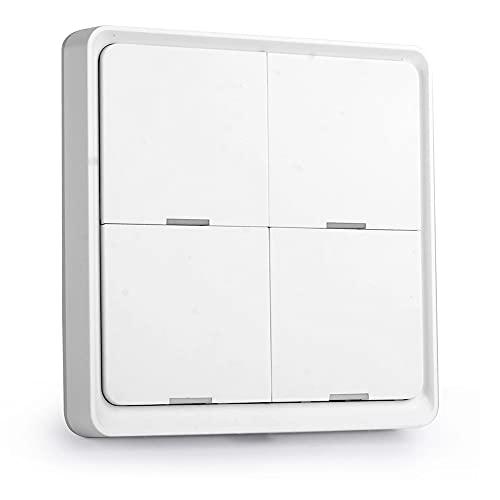 Cmstop Tuya ZigBee Interruptor de escena inteligente inalámbrico Interruptor de escenario de 4 pandillas Asistente de hogar inteligente para el hogar Alexa Siri Smarts Life