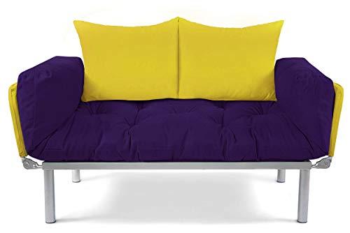 EasySitz Schlafsofa Sofa 2 Sitzer Kleines Couch 2-Sitzer Schlafsessel für Zweisitzer Personen Mein Futon Sitzen EIN Einer Farbauswahl (Lila & Gelb)
