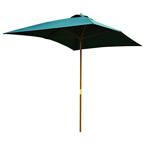 Outsunny Sombrilla Parasol 2x3m y Altura 2,5m Jardin Terraza Poliester 180g/m2 y Madera Color Verde