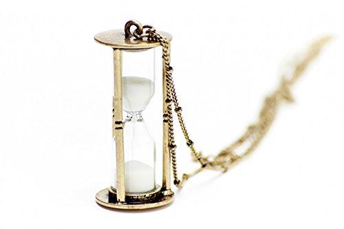 Miniblings Sanduhr Kette Sanduhrkette 5cm L€UFT MIT Sand Uhr Eieruhr 80cm Bronze - Handmade Modeschmuck - Gliederkette Bronze