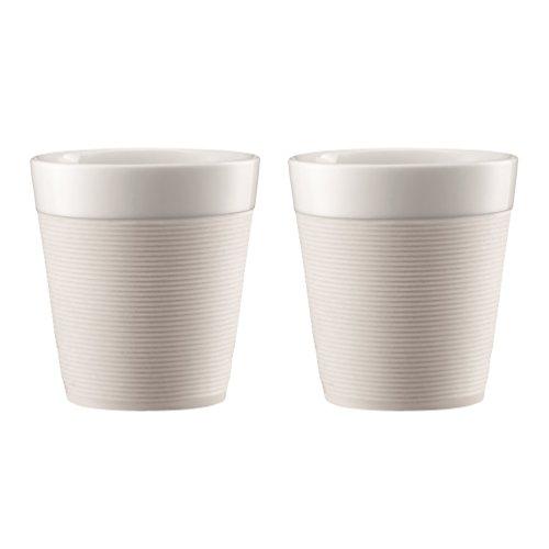 Bodum Bistro Set Tazas de Porcelana, Blanco Crema, 0,17 litros