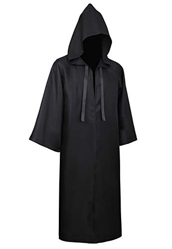 Haorugut Tunic Hooded Robe Cloak Halloween Costume Robe Cloak Cape Outfits Black XL