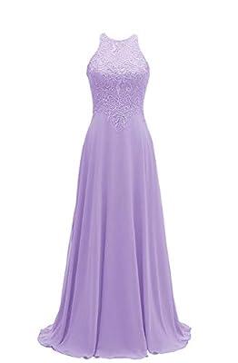 Chiffon Lace Bridesmaid Dresses Long Plus Size Halter Beaded A Line Formal Dress for Women Lavender Size20