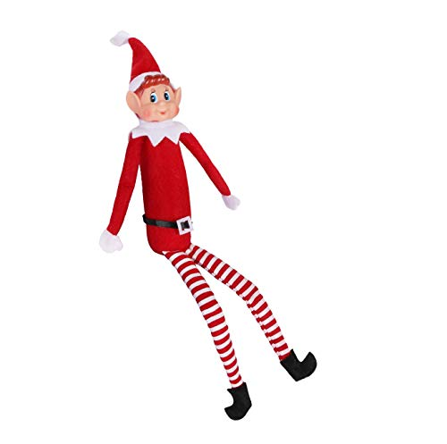 EVERMAKET 12 Inch Long Leg Soft Body Vinyl Face Elf Doll with Hat & Tag for Holiday Christmas New Year