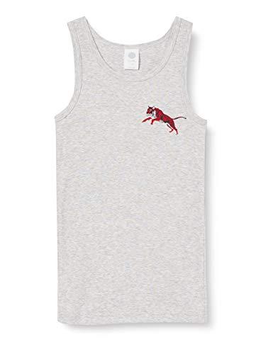 Sanetta Jungen hellgrau Melange Unterhemd in Graumelange mit coolem Tiger-Print auf der Brust taffe, grau, 140