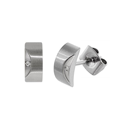 Boccia Damen-Ohrstecker Titan mattiert Diamant (0.01 ct) weiß Brillantschliff - 05007-02