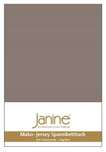 Janine Spannbetttuch 5007 Mako Jersey 140/200 bis 160/200 cm Taupe Fb. 57