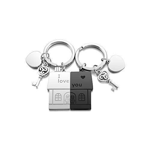PiercingJak 2PCS Porte-clés Couple Gravé Personnalisé Pendentif Maison Famille Key Chain Keychain Trousseau Puzzle Séparable en Acier Inoxydable Cadeau Amour Amoureux Amitié(Non Gravure)