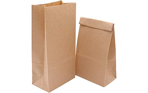 100 Stück Prima Qualität Papiertüten 9 x 16 x 5.5 cm, Geschenktüten, Tüten aus braunem Papier Für Weihnachtskekse und zum Basteln/Samen, Sackerl als Verpackung f Geschenke u für einen Advetkalender