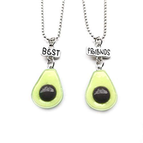 Tpocean Kids 2 Pieces Resin Avocado'Best Friends' Necklace BFF Necklace Set