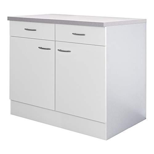 Flex-Well Küchenschrank UNNA - Unterschrank - 2-türig, 2 Schubladen - Breite 80 cm - Weiß