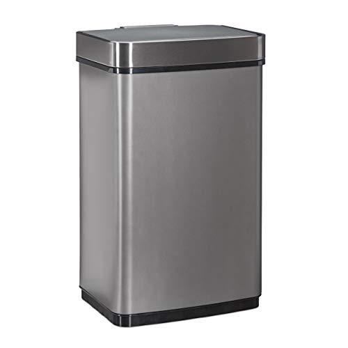 Relaxdays, grau Sensor Mülleimer 60l, Abfalleimer, Küchenmülleimer aus Edelstahl, mit Bewegungssensor, batteriebetrieben