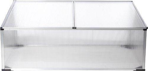 Gartenfreude Gewächshaus Frühbeet Aluminiumrahmen mit Polycarbonatplatten 100 x 60 x 40 cm (LxBxH)