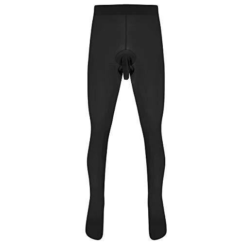 YiZYiF Männer lang Unterhose Unterwäsche Strumpfhose Herren Kompressions Leggings Pants Hosen mit offener/geschlossener Hülle A Schwarz (offene Penishülle) One Size