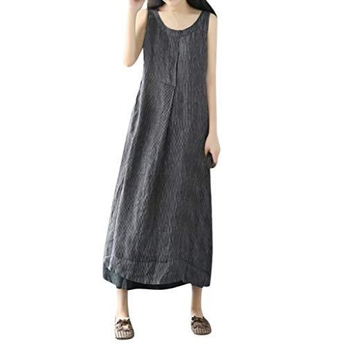 Alikeey Oversized jurk van katoen en linnen met grote zakken voor dames, vrouwen, sexy lang, voor zomer, strand, kostuum, rok, groot formaat