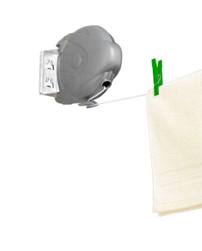 WENKO 3726400100 Wäscheleine Jumbo, 15 Meter, ausziehbar mit Automatik, Polystyrol, 18 x 18.5 x 6 cm, Grau