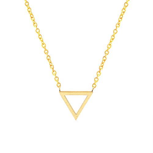 TLLAMG Halskette Geometrische Dreieck Halskette Rose Gold Kette Edelstahl Vintage Schmuck Frauen Choker Halsketten Anhänger, G