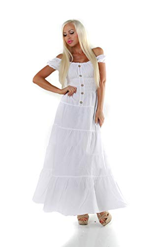 OSAB-Fashion 11547 Damen Maxikleid Kurzarm Sommerkleid Stufenrock Carmenlook Gesmokt Knöpfe
