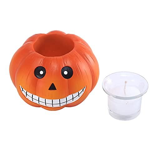 YARNOW Zucca Tea Light Candle Holder per Le Decorazioni di Halloween della Resina Zucca tè Luci Luce Up Jack O Lanterne Decor