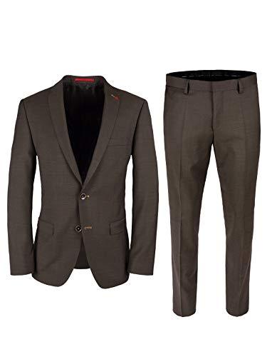 Roy Robson Herren Anzug Slim Fit 2-teilig aus Schurwolle Super'100 Business (Braun, 54)