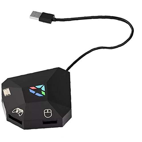 shentaotao Negro del ratón del Teclado del Adaptador del convertidor del regulador Gamepad portátil Juego Ligera Plug