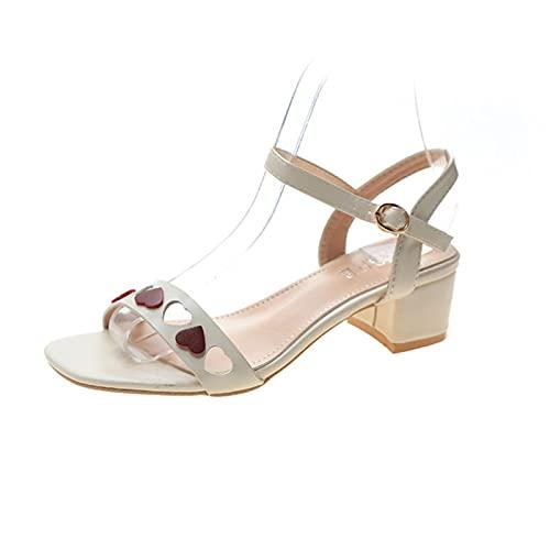 WXDC Summer One Line Sandalias de Hebilla de Punta Abierta, Moda Hueco Fuera Grueso tacón Zapatos de Mujer versión Coreana