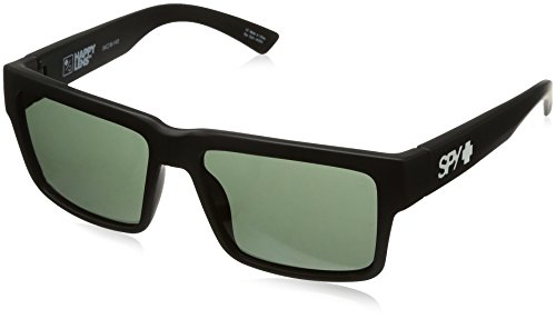 Spy Optic Montana Square Sunglasses, Soft Matte Black/Happy Gray/Green, 1.5 mm