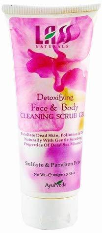 Glamorous Hub Lass Naturals Gel exfoliante de limpieza para rostro y cuerpo desintoxicante de 100 g (el empaque puede variar)