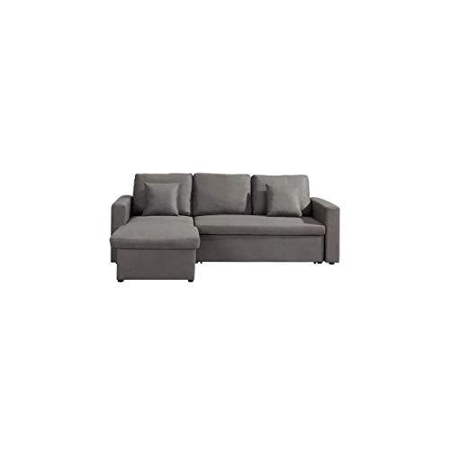 Canapé d'angle 2 places Gris Tissu