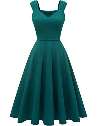 DRESSTELLS Damen 1950er Midi Rockabilly Kleid Vintage V-Ausschnitt Hochzeit Cocktailkleid Faltenrock Turquoise XL