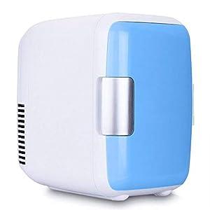 Mini réfrigérateur de voiture Réfrigérateur compact 4L12V réversible porte simple refroidisseur et réchaud chauffe-glace électrique portable ABS sans compresseur pour camping voyage congélateur,Blue