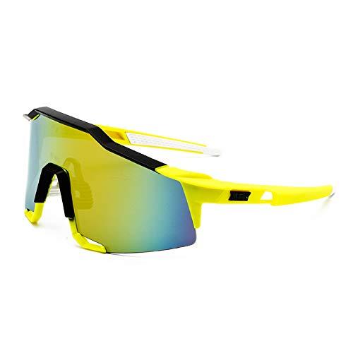 Cao Herren Fahrradbrille Bunte Sonnenbrille Sonnenbrille Fahrrad Winddicht 8119 Sonnenbrille Outdoor Sport Augen 1 Gelber Rahmen schwarzer Rand Gold Quecksilber