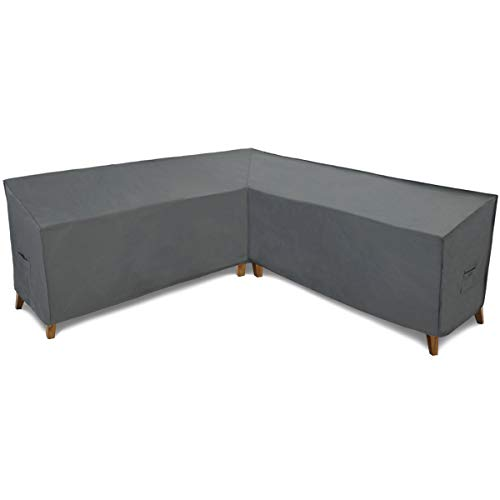 Patio Watcher Sectional Lounge Set Cover, Durable and Waterproof Patio Furniture Sectional Middle Sofa Cover, Grey, 100 Inch