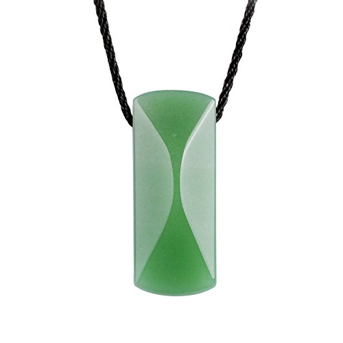 iSTONE Natural Green Aventurine Pendant Necklace For Luck Rope Chain 24 Inch