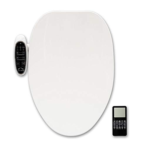 Smart Bidet toilet seat for Elongated Toilets, Heated Seat and Instantaneous Water Heating, Stainless Steel Self-Cleaning Nozzle, Nightlight, Warm Air Dryer, Remote Control, White