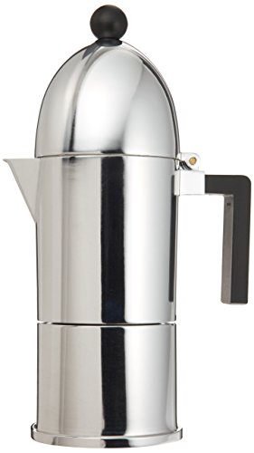 Alessi Cafeteira para Café Expresso 300ml - La Cupola Prateado e Preto - AALEA9095/6B