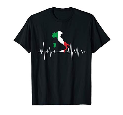 Herzschlag Herzfrequenz Herzlinie Italien Flagge T-Shirt T-Shirt