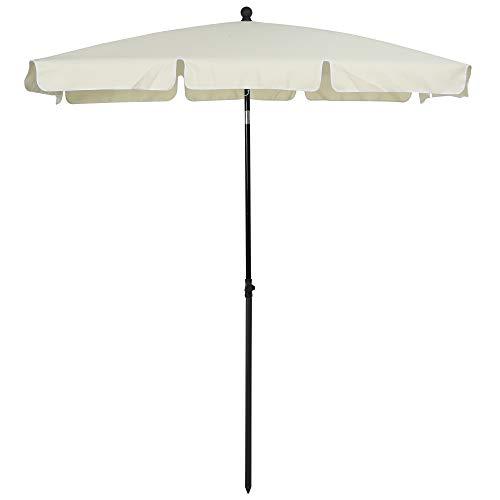 Outsunny Sombrilla Cuadrada Grande Parasol con Ángulo Ajustable para Patio Terraza o Jardín 198x130x240cm En Color Beige
