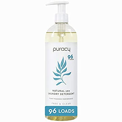 Puracy Natural Liquid Laundry Detergent, Hypoallergenic, Enzyme-Based, Free & Clear, 24 Ounce (96 Loads)