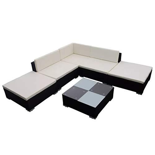 Sunlight - 15 piezas Conjunto de sofá de jardín de polirratán, para exterior, balcón, terraza, muebles de jardín con mesa de centro, color negro