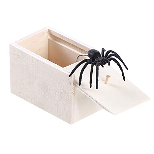 HKUN 恐怖ボックス 悪ふざけ びっくり箱 おもちゃ 恐怖 木製 ドッキリ 偽物 クモ