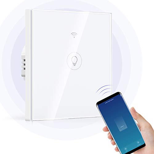 Wi-Fi Interruptor Alexa, Etersky Interruptor luz Inteligente, Interruptor Pared 1 Gang Compatible con Alexa y Google Home, Control APP, Interruptor Superficie con Temporizador, Neutral Requerido