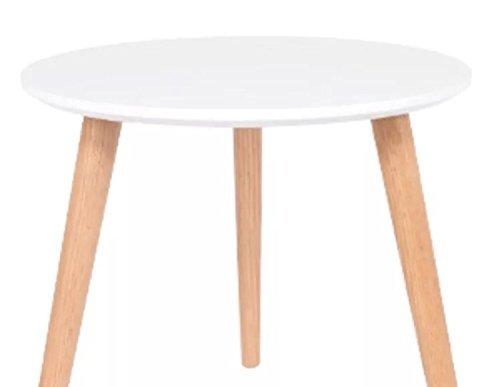 Loft Range Occasion Side Table Simple Sleek & Stylish MDF Top - 3 Bamboo Legs (White)