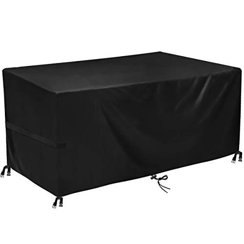 king do way Garden Furniture Covers,Outdoor Furniture Cover 600D Heavy Duty Oxford Polyester Rectangular Patio Table Covers Waterproof,Windproof & Anti-UV Patio Furniture Covers 242x182x100cm (Black)