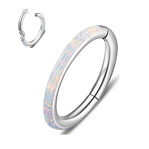 316L Surgical Steel 16G White Opal Cartilage Earring Hoop Septum Nose Rings Daith Helix Tragus Earring Jewelry, 16 Guage, Silver, 8mm