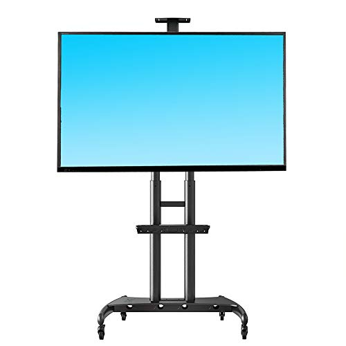 NB North Bayou Mobile TV Cart TV Stand with Wheels for 55' - 80' Inch LCD LED OLED Plasma Flat Panel Screens up to 200lbs AVA1800-70-1P (Black)
